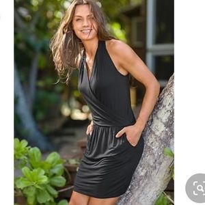 Athleta Black Wrap Halter Dress